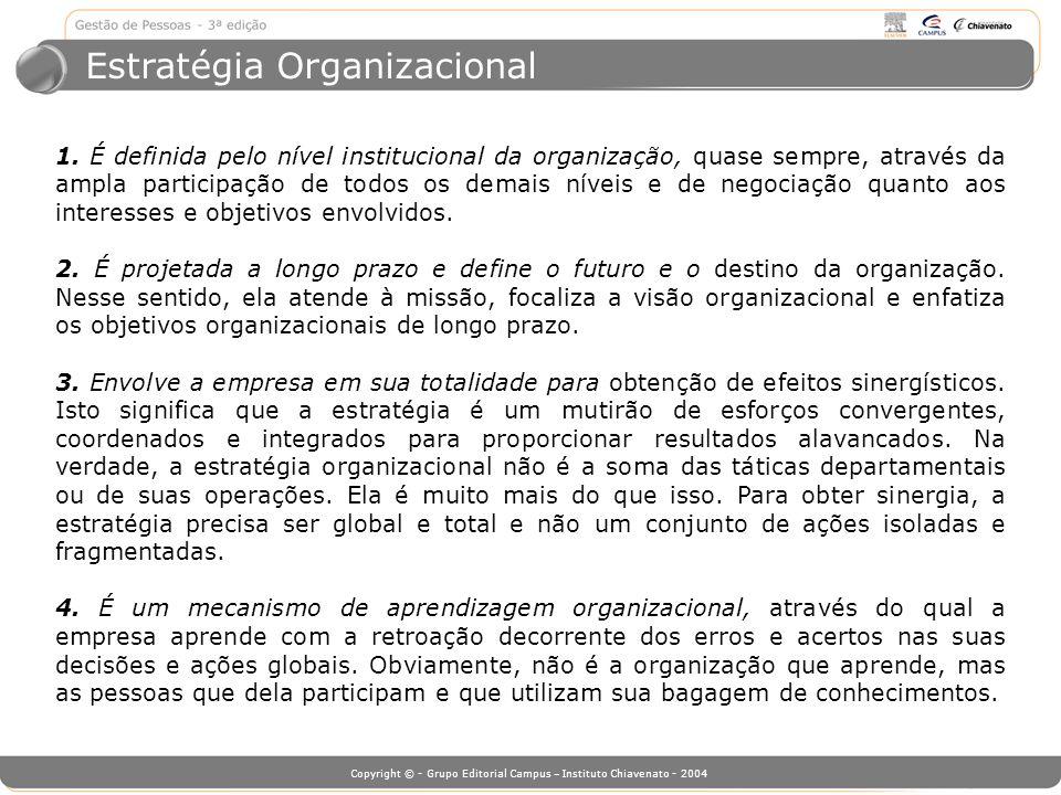Copyright © - Grupo Editorial Campus – Instituto Chiavenato - 2004 Estratégia Organizacional 1. É definida pelo nível institucional da organização, qu