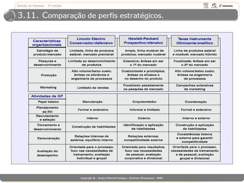 Copyright © - Grupo Editorial Campus – Instituto Chiavenato - 2004 3.11. C omparação de perfis estratégicos.