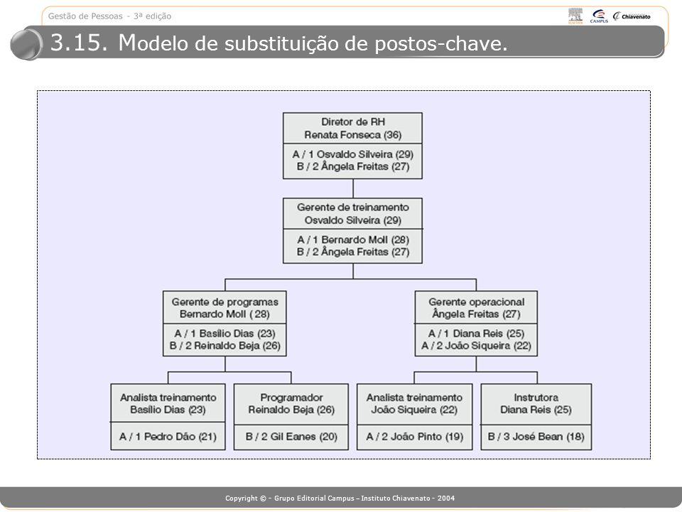 Copyright © - Grupo Editorial Campus – Instituto Chiavenato - 2004 3.15. M odelo de substituição de postos-chave.