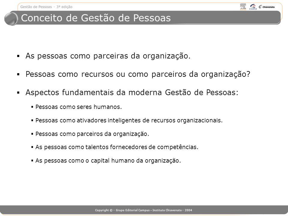 Copyright © - Grupo Editorial Campus – Instituto Chiavenato - 2004 Conceito de Gestão de Pessoas As pessoas como parceiras da organização. Pessoas com
