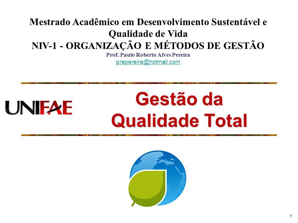 1 Gestão da Qualidade Total Mestrado Acadêmico em Desenvolvimento Sustentável e Qualidade de Vida NIV-1 - ORGANIZAÇÃO E MÉTODOS DE GESTÃO Prof. Paulo
