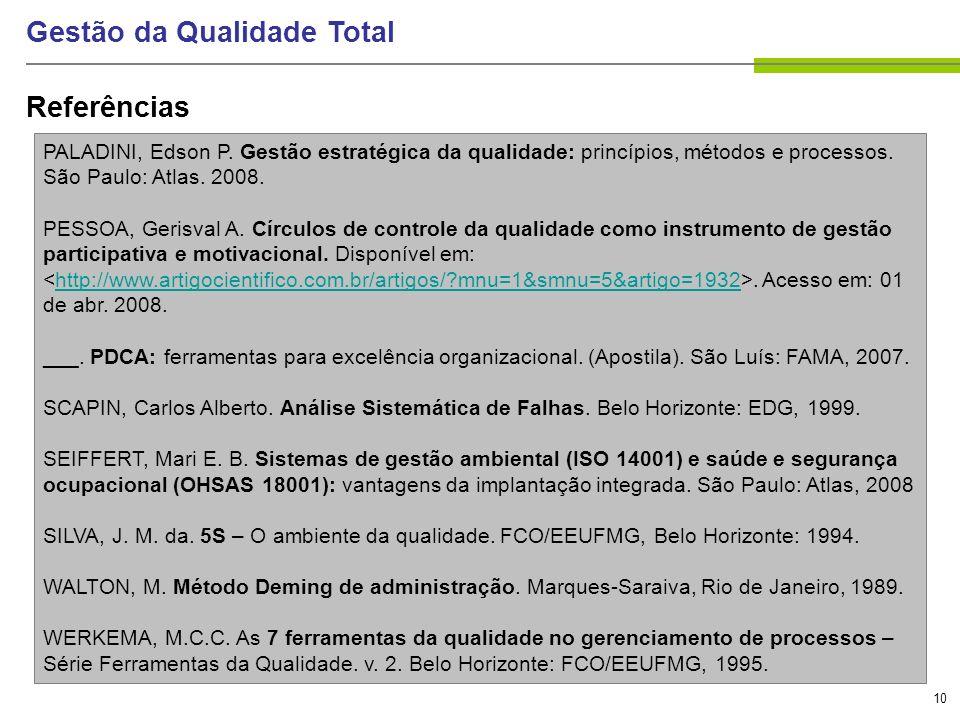 10 Gestão da Qualidade Total Referências PALADINI, Edson P. Gestão estratégica da qualidade: princípios, métodos e processos. São Paulo: Atlas. 2008.