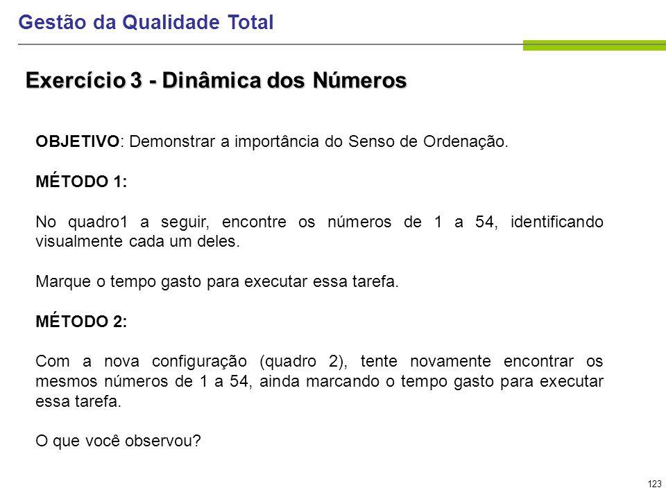 123 Gestão da Qualidade Total Exercício 3 - Dinâmica dos Números OBJETIVO: Demonstrar a importância do Senso de Ordenação. MÉTODO 1: No quadro1 a segu