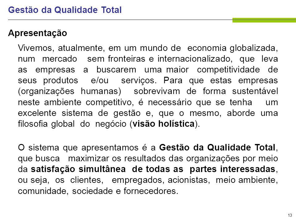 13 Gestão da Qualidade Total Vivemos, atualmente, em um mundo de economia globalizada, num mercado sem fronteiras e internacionalizado, que leva as em