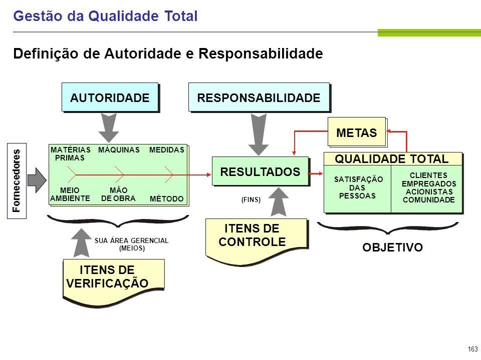 163 Gestão da Qualidade Total Definição de Autoridade e Responsabilidade AUTORIDADE RESULTADOS MATÉRIAS PRIMAS SATISFAÇÃO DAS PESSOAS CLIENTES EMPREGA