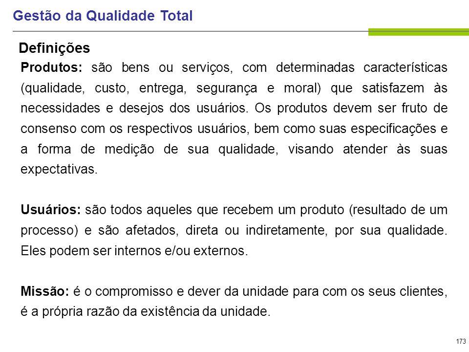 173 Gestão da Qualidade Total Produtos: são bens ou serviços, com determinadas características (qualidade, custo, entrega, segurança e moral) que sati