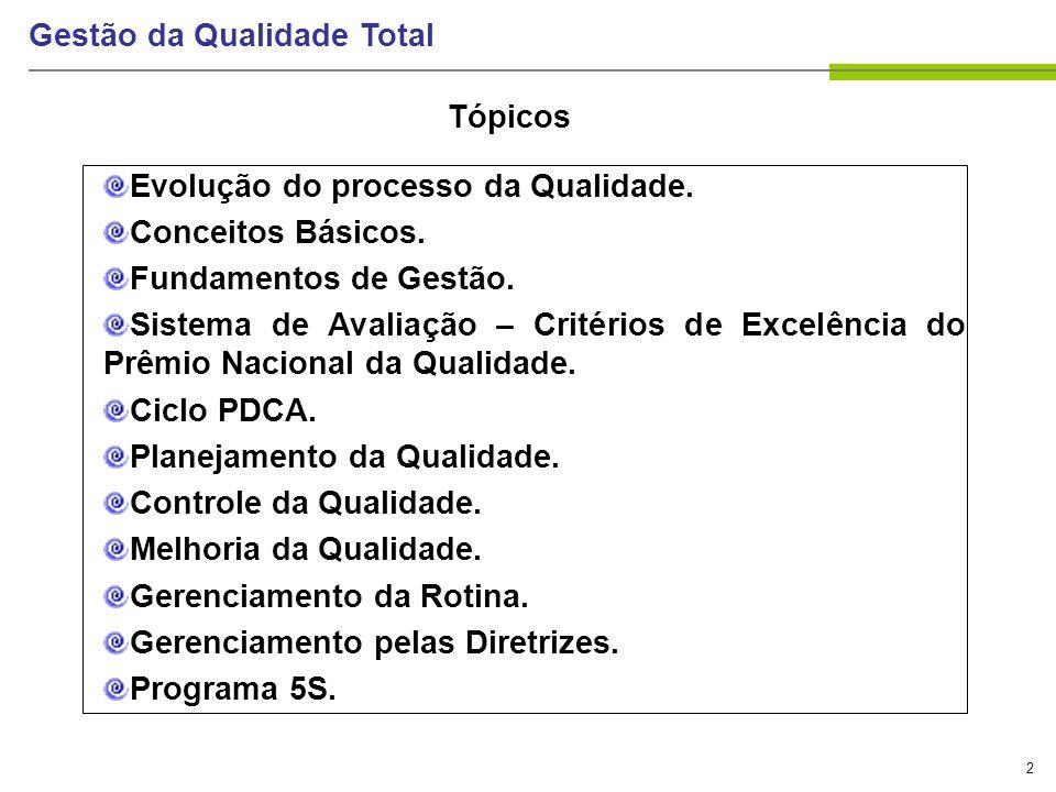 133 Gestão da Qualidade Total GESTÃO ATIVIDADES RECURSOS = SATISFAÇÃO DE CLIENTES SAÍDA Controles (p.ex.