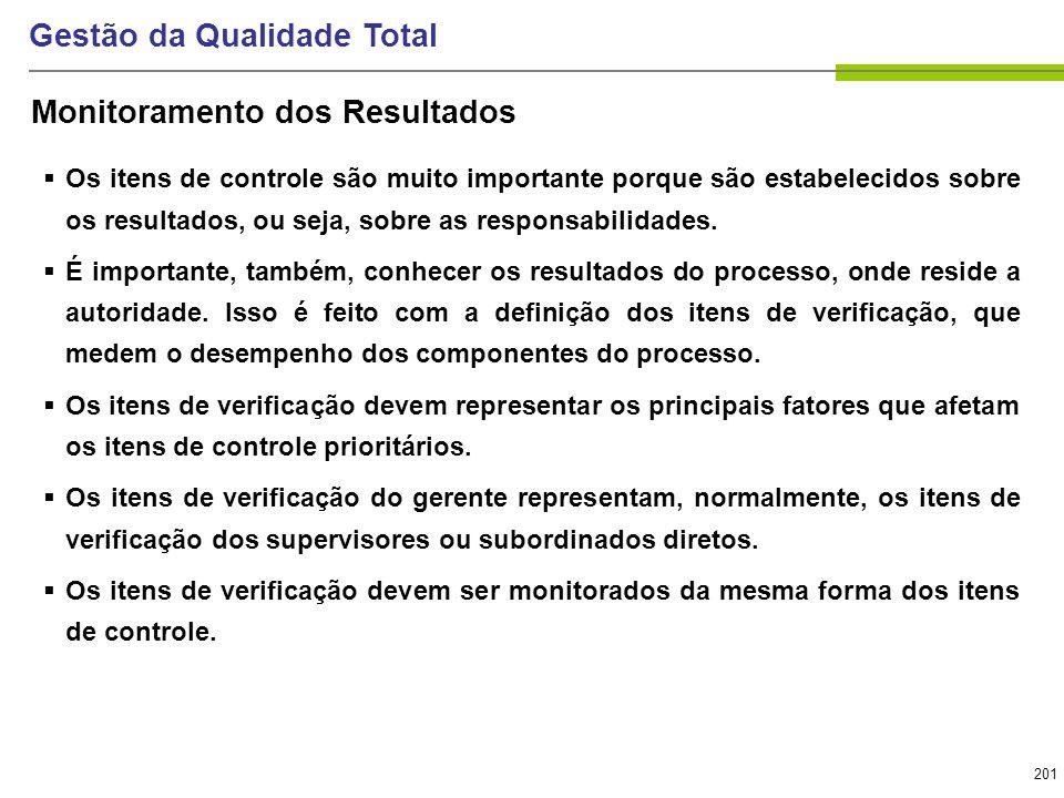 201 Gestão da Qualidade Total Os itens de controle são muito importante porque são estabelecidos sobre os resultados, ou seja, sobre as responsabilida