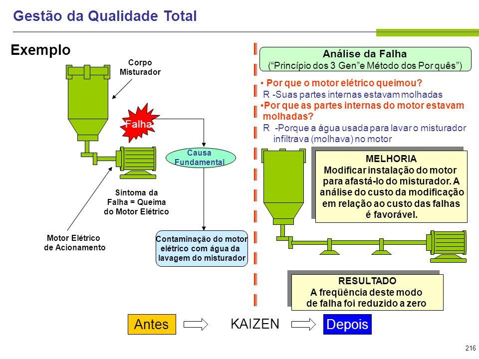 216 Gestão da Qualidade Total Falha Contaminação do motor elétrico com água da lavagem do misturador Causa Fundamental Corpo Misturador Motor Elétrico