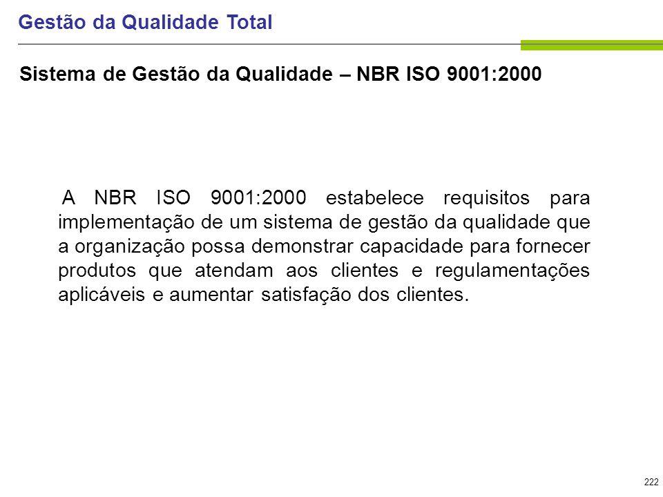 222 Gestão da Qualidade Total A NBR ISO 9001:2000 estabelece requisitos para implementação de um sistema de gestão da qualidade que a organização poss