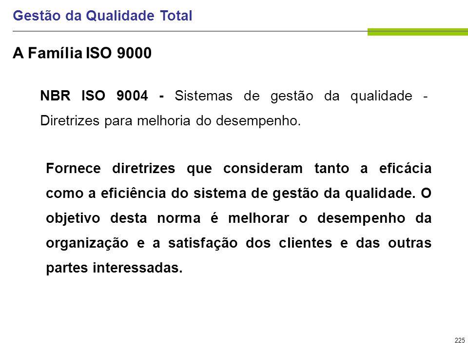 225 Gestão da Qualidade Total NBR ISO 9004 - Sistemas de gestão da qualidade - Diretrizes para melhoria do desempenho. Fornece diretrizes que consider