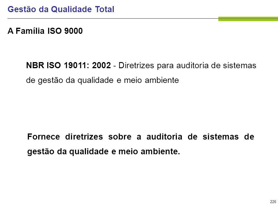 226 Gestão da Qualidade Total NBR ISO 19011: 2002 - Diretrizes para auditoria de sistemas de gestão da qualidade e meio ambiente Fornece diretrizes so