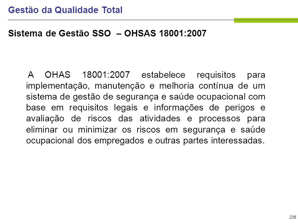 238 Gestão da Qualidade Total A OHAS 18001:2007 estabelece requisitos para implementação, manutenção e melhoria contínua de um sistema de gestão de se