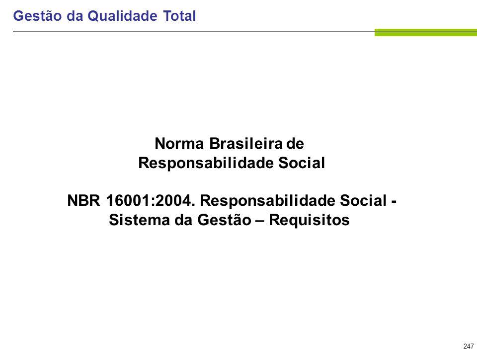 247 Gestão da Qualidade Total Norma Brasileira de Responsabilidade Social NBR 16001:2004. Responsabilidade Social - Sistema da Gestão – Requisitos