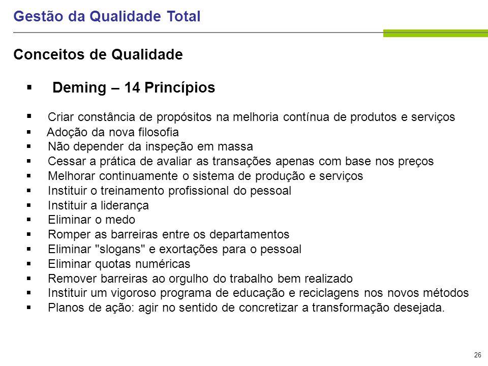 26 Gestão da Qualidade Total Deming – 14 Princípios Criar constância de propósitos na melhoria contínua de produtos e serviços Adoção da nova filosofi