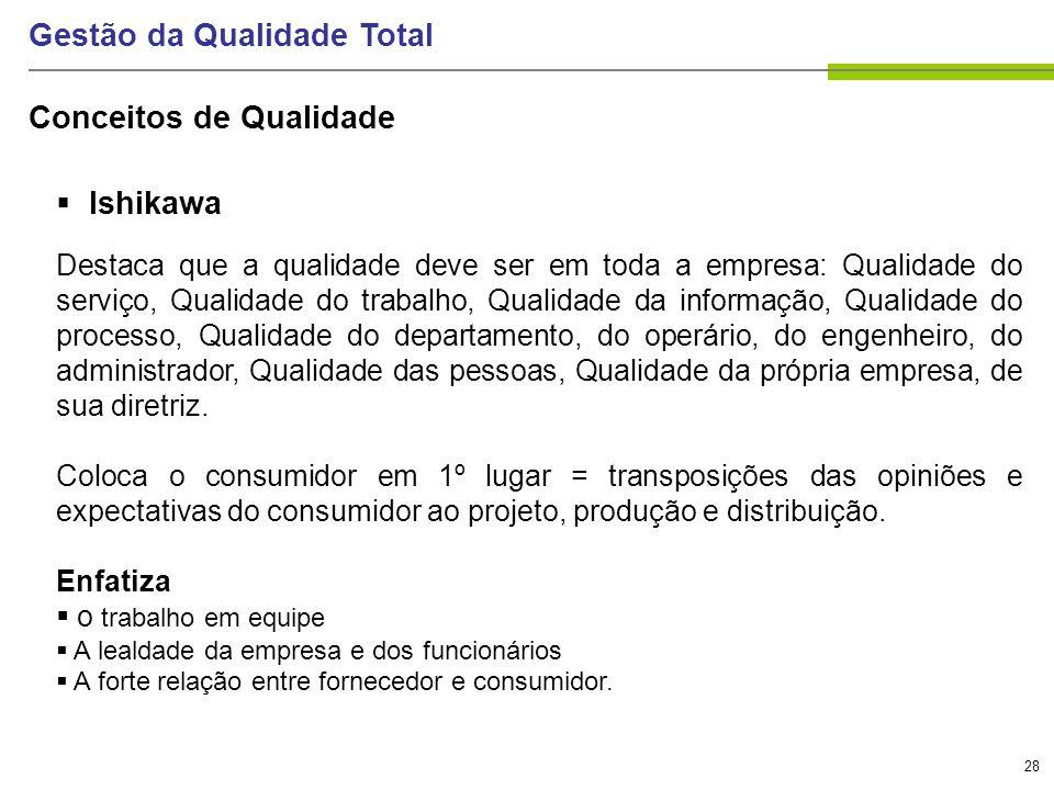 28 Gestão da Qualidade Total Ishikawa Destaca que a qualidade deve ser em toda a empresa: Qualidade do serviço, Qualidade do trabalho, Qualidade da in