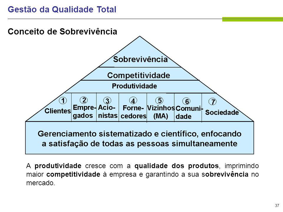 37 Gestão da Qualidade Total Conceito de Sobrevivência A produtividade cresce com a qualidade dos produtos, imprimindo maior competitividade à empresa