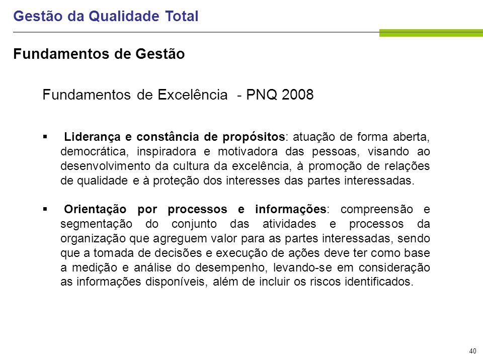 40 Gestão da Qualidade Total Fundamentos de Excelência - PNQ 2008 Liderança e constância de propósitos: atuação de forma aberta, democrática, inspirad