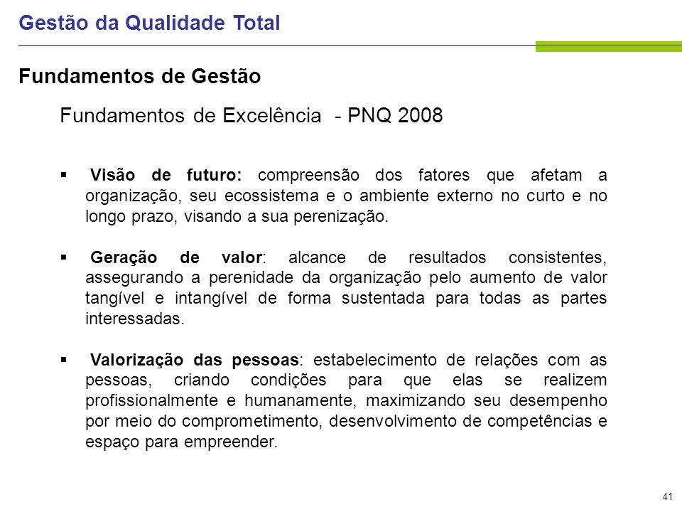 41 Gestão da Qualidade Total Fundamentos de Excelência - PNQ 2008 Visão de futuro: compreensão dos fatores que afetam a organização, seu ecossistema e