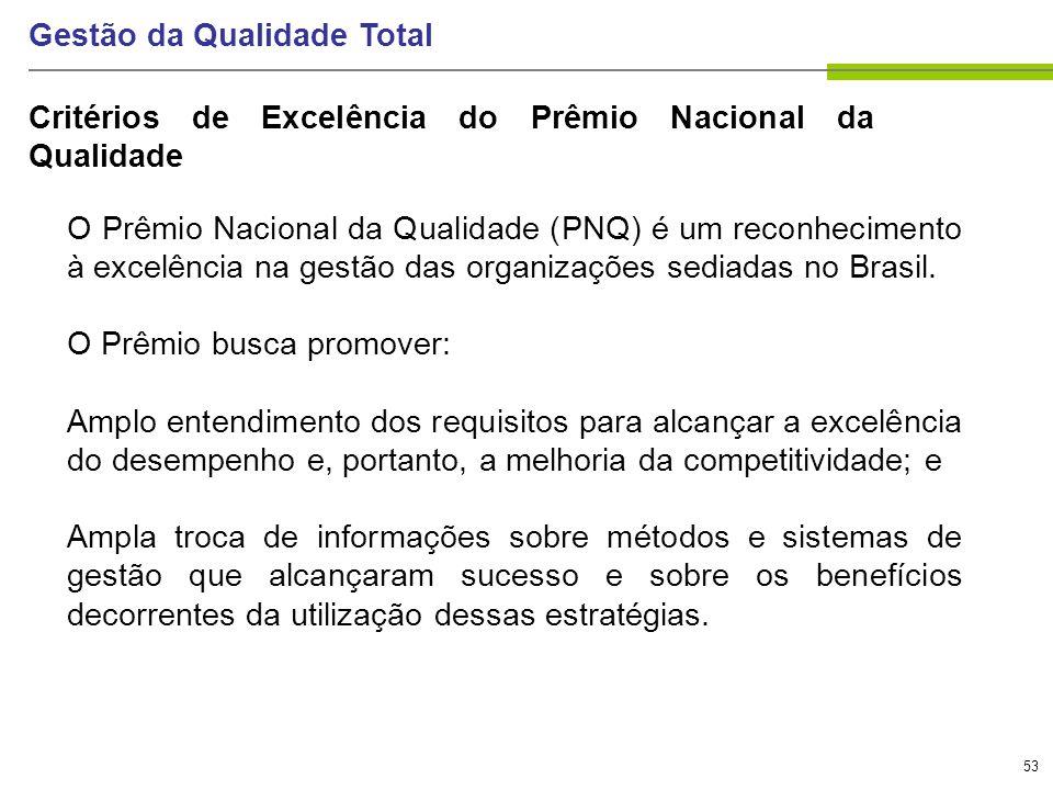 53 Gestão da Qualidade Total O Prêmio Nacional da Qualidade (PNQ) é um reconhecimento à excelência na gestão das organizações sediadas no Brasil. O Pr