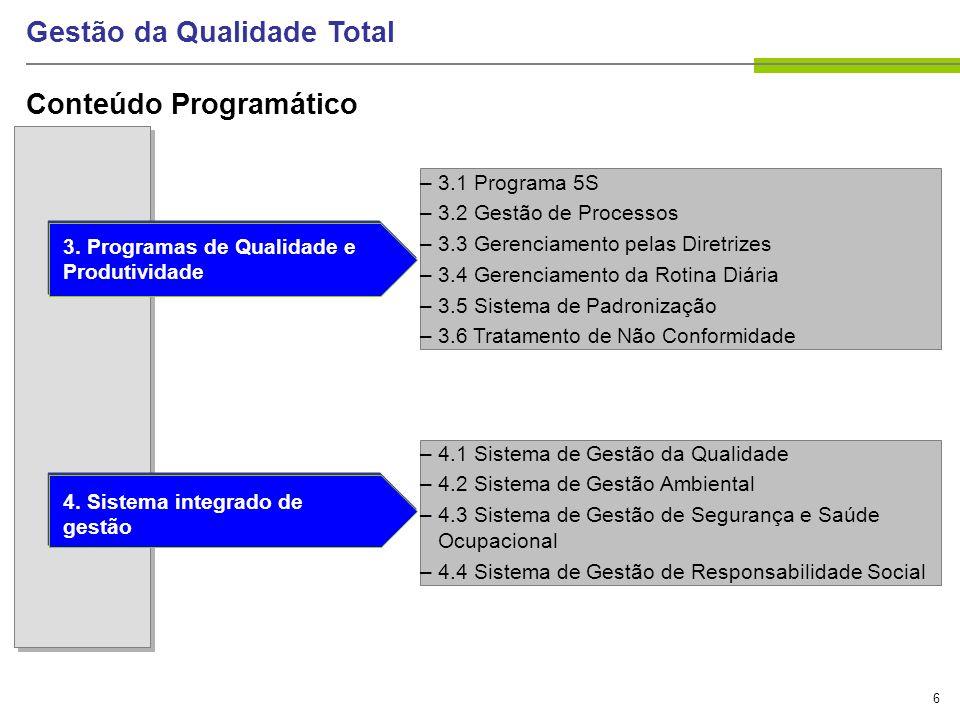 17 Gestão da Qualidade Total Evolução da Qualidade Inspeção Controle Estatístico da Qualidade Garantia da Qualidade Gestão Estratégica da Qualidade As Quatro Principais Fases da Qualidade