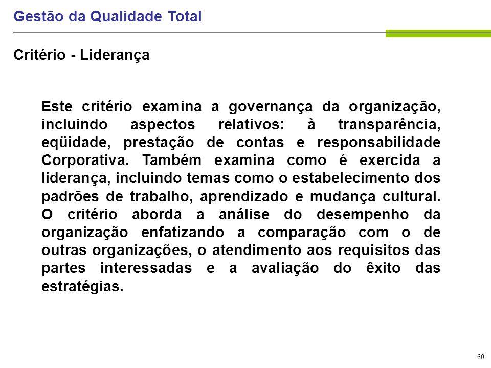 60 Gestão da Qualidade Total Critério - Liderança Este critério examina a governança da organização, incluindo aspectos relativos: à transparência, eq