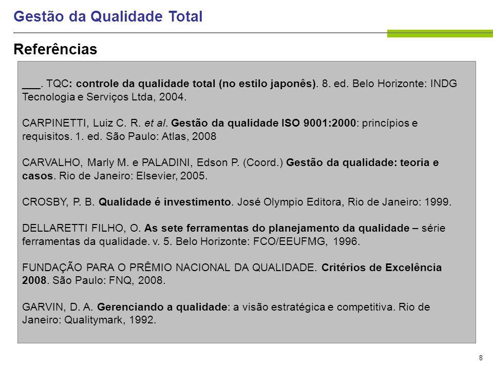 8 Gestão da Qualidade Total Referências ___. TQC: controle da qualidade total (no estilo japonês). 8. ed. Belo Horizonte: INDG Tecnologia e Serviços L
