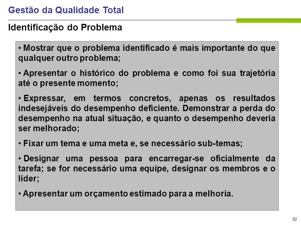 92 Gestão da Qualidade Total Identificação do Problema Mostrar que o problema identificado é mais importante do que qualquer outro problema; Apresenta