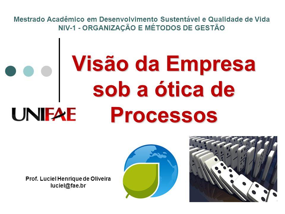 Visão da Empresa sob a ótica de Processos Prof. Luciel Henrique de Oliveira luciel@fae.br Mestrado Acadêmico em Desenvolvimento Sustentável e Qualidad