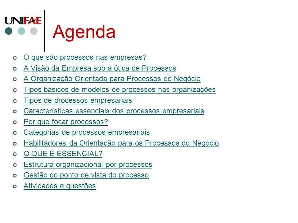 Agenda O que são processos nas empresas? A Visão da Empresa sob a ótica de Processos A Organização Orientada para Processos do Negócio Tipos básicos d
