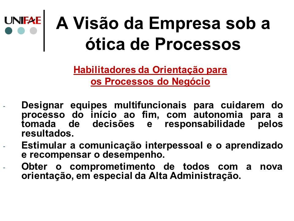 A Visão da Empresa sob a ótica de Processos Habilitadores da Orientação para os Processos do Negócio - Designar equipes multifuncionais para cuidarem