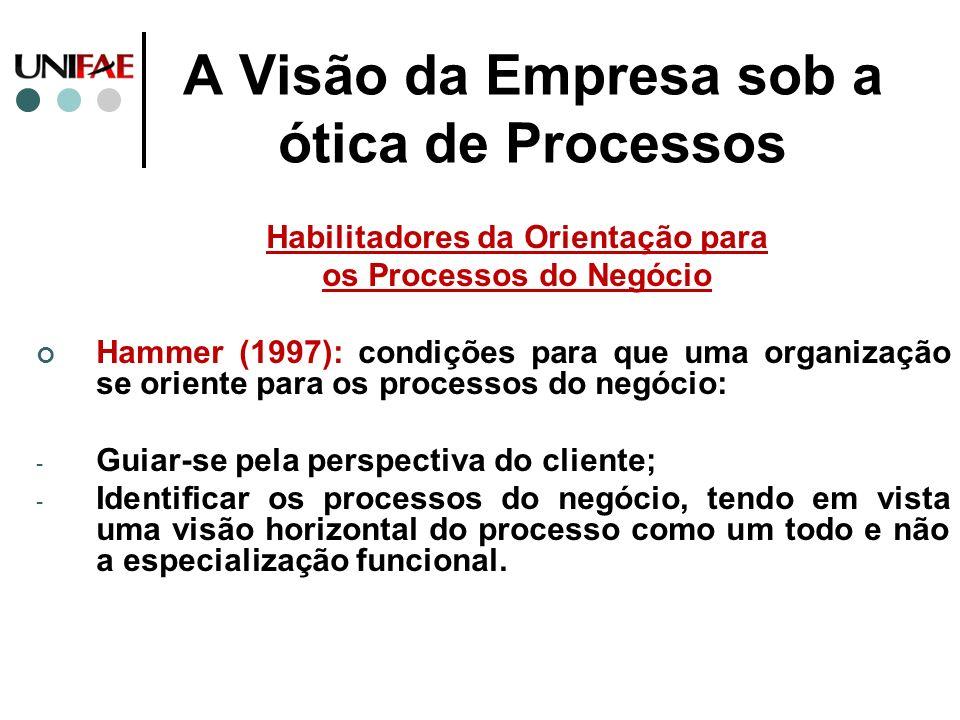 A Visão da Empresa sob a ótica de Processos Habilitadores da Orientação para os Processos do Negócio Hammer (1997): condições para que uma organização