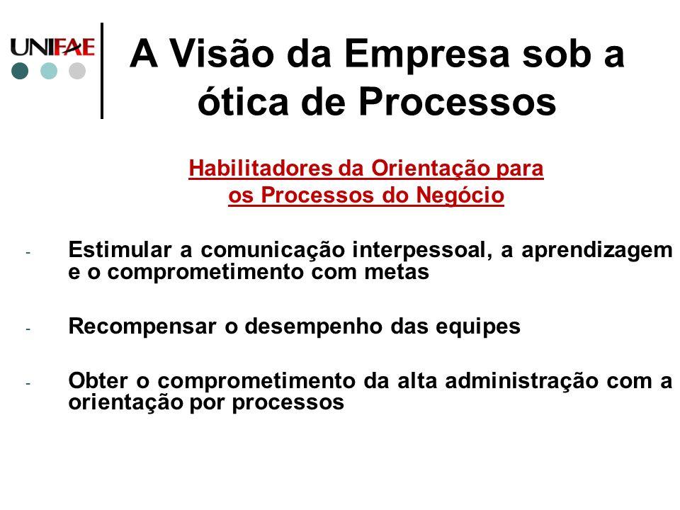 A Visão da Empresa sob a ótica de Processos Habilitadores da Orientação para os Processos do Negócio - Estimular a comunicação interpessoal, a aprendi