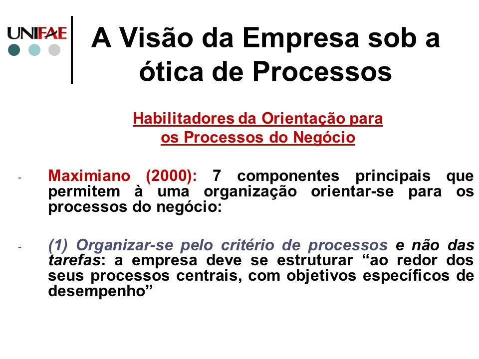 A Visão da Empresa sob a ótica de Processos Habilitadores da Orientação para os Processos do Negócio - Maximiano (2000): 7 componentes principais que