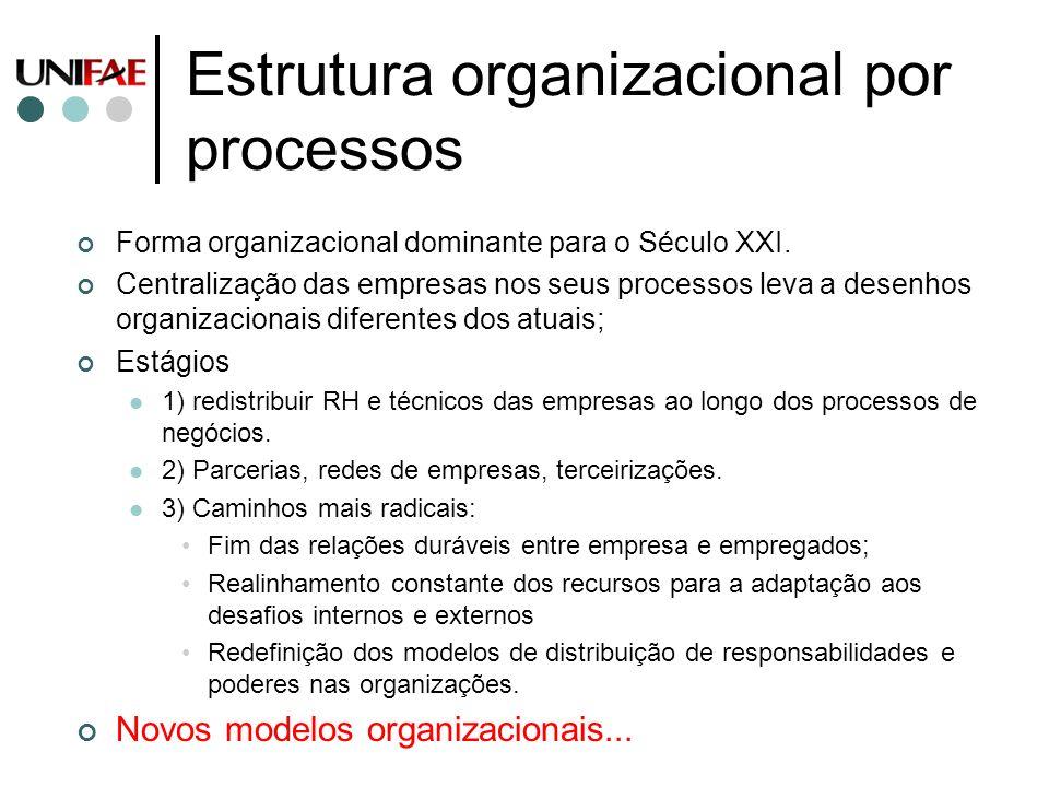 Estrutura organizacional por processos Forma organizacional dominante para o Século XXI. Centralização das empresas nos seus processos leva a desenhos