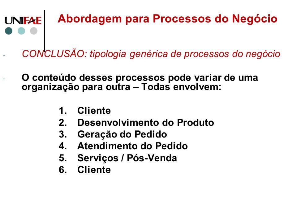 Abordagem para Processos do Negócio - CONCLUSÃO: tipologia genérica de processos do negócio - O conteúdo desses processos pode variar de uma organizaç