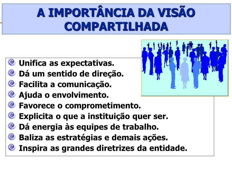 A IMPORTÂNCIA DA VISÃO COMPARTILHADA Unifica as expectativas. Dá um sentido de direção. Facilita a comunicação. Ajuda o envolvimento. Favorece o compr
