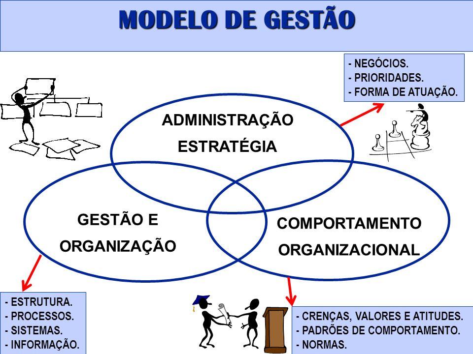 ADMINISTRAÇÃO ESTRATÉGIA GESTÃO E ORGANIZAÇÃO COMPORTAMENTO ORGANIZACIONAL - ESTRUTURA. - PROCESSOS. - SISTEMAS. - INFORMAÇÃO. - CRENÇAS, VALORES E AT