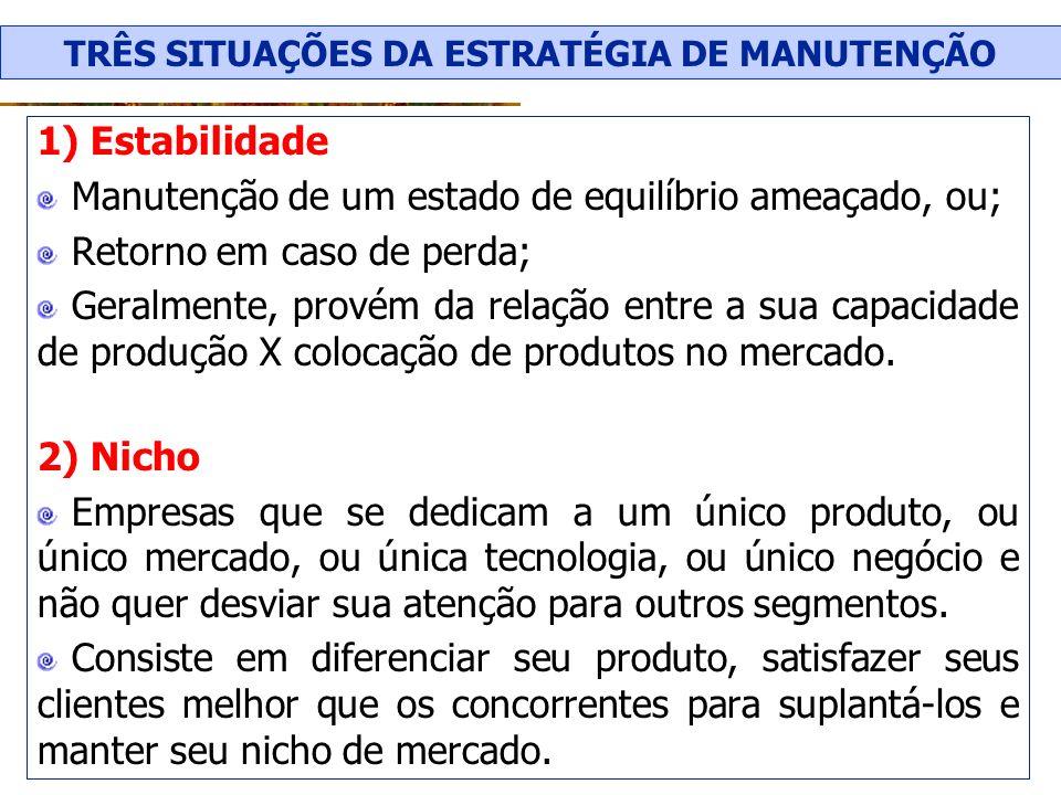 1) Estabilidade Manutenção de um estado de equilíbrio ameaçado, ou; Retorno em caso de perda; Geralmente, provém da relação entre a sua capacidade de