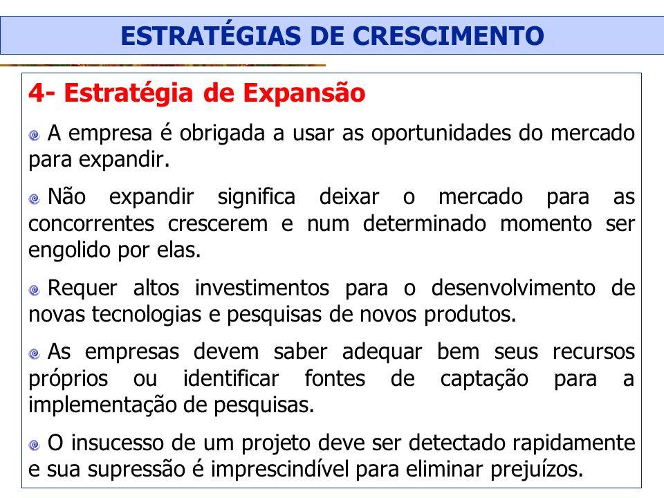 4- Estratégia de Expansão A empresa é obrigada a usar as oportunidades do mercado para expandir. Não expandir significa deixar o mercado para as conco
