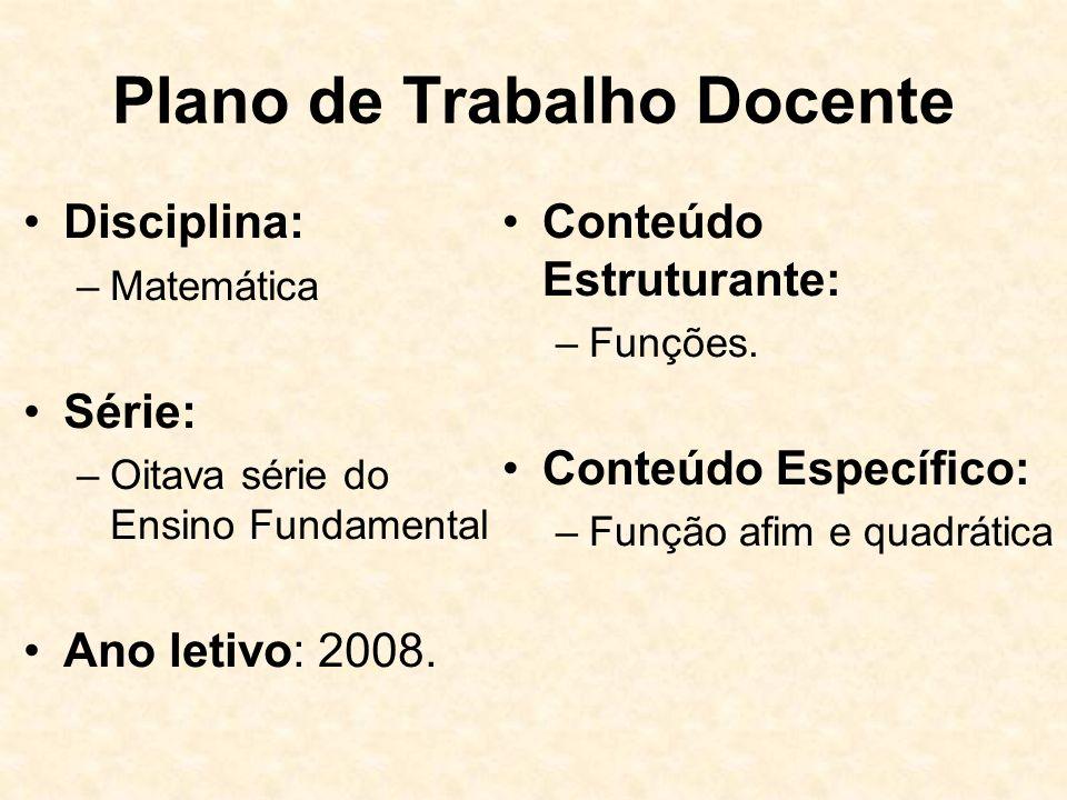 Plano de Trabalho Docente Disciplina: –Matemática Série: –Oitava série do Ensino Fundamental Ano letivo: 2008.
