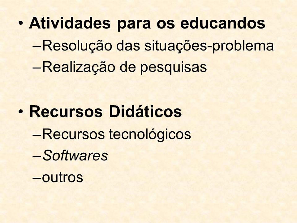 Atividades para os educandos –Resolução das situações-problema –Realização de pesquisas Recursos Didáticos –Recursos tecnológicos –Softwares –outros
