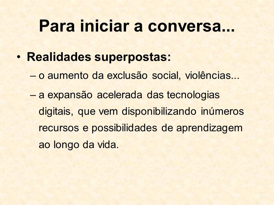 Para iniciar a conversa...Realidades superpostas: –o aumento da exclusão social, violências...