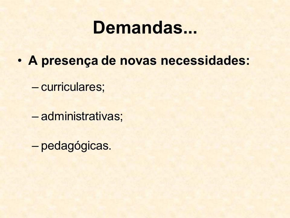 Demandas... A presença de novas necessidades: –curriculares; –administrativas; –pedagógicas.