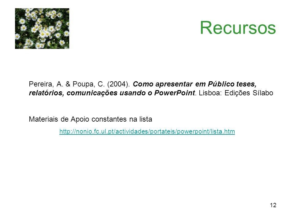 12 Recursos Pereira, A. & Poupa, C. (2004). Como apresentar em Público teses, relatórios, comunicações usando o PowerPoint. Lisboa: Edições Sílabo Mat