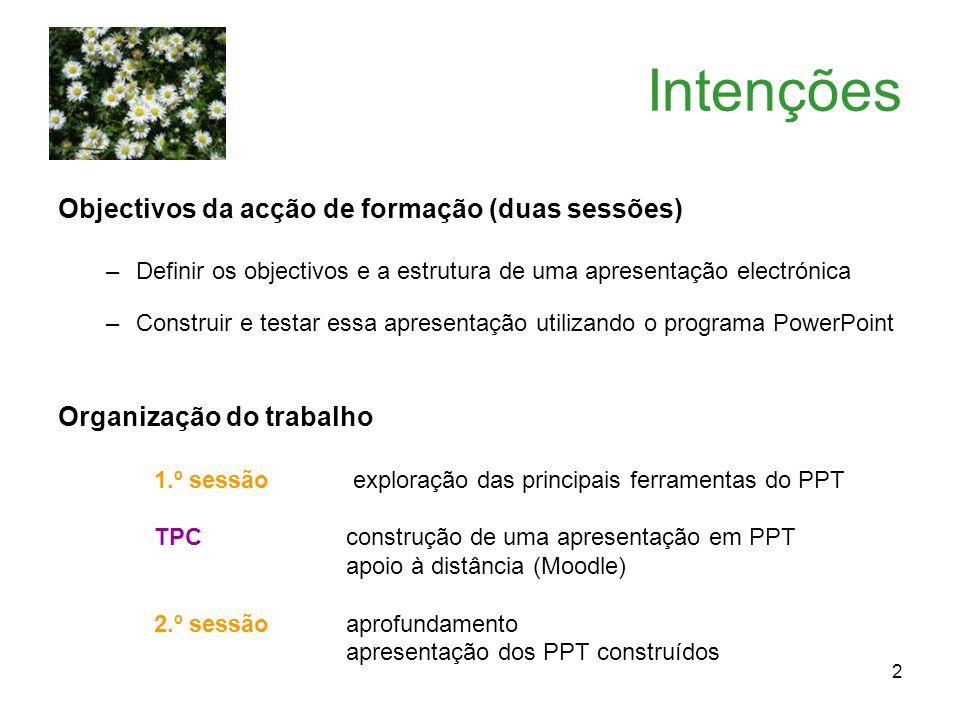 2 Intenções Objectivos da acção de formação (duas sessões) –Definir os objectivos e a estrutura de uma apresentação electrónica –Construir e testar es