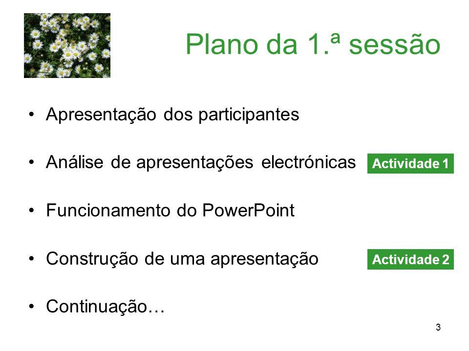 3 Plano da 1.ª sessão Apresentação dos participantes Análise de apresentações electrónicas Funcionamento do PowerPoint Construção de uma apresentação