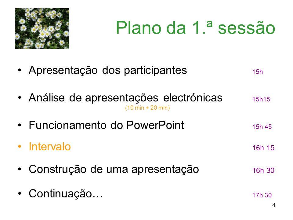 4 Plano da 1.ª sessão Apresentação dos participantes 15h Análise de apresentações electrónicas 15h15 (10 min + 20 min) Funcionamento do PowerPoint 15h