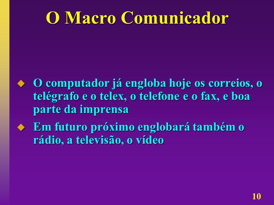 10 O Macro Comunicador O computador já engloba hoje os correios, o telégrafo e o telex, o telefone e o fax, e boa parte da imprensa O computador já en