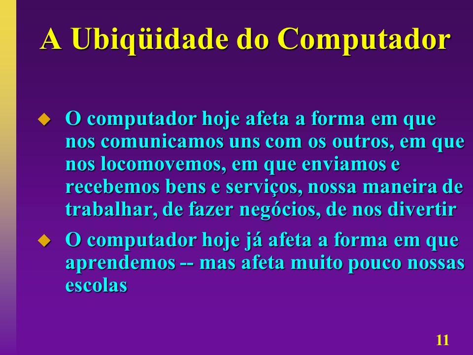 11 A Ubiqüidade do Computador O computador hoje afeta a forma em que nos comunicamos uns com os outros, em que nos locomovemos, em que enviamos e rece